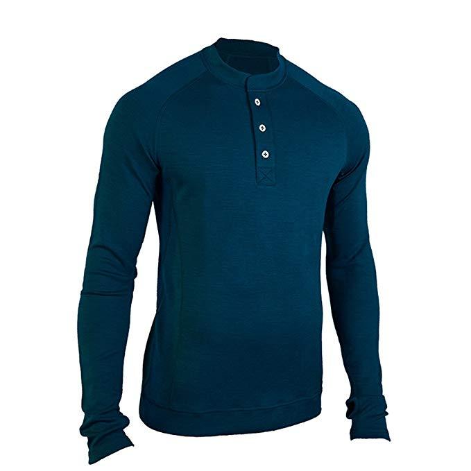 Showers Pass Men's Long Sleeve Bamboo Merino Henley Shirt
