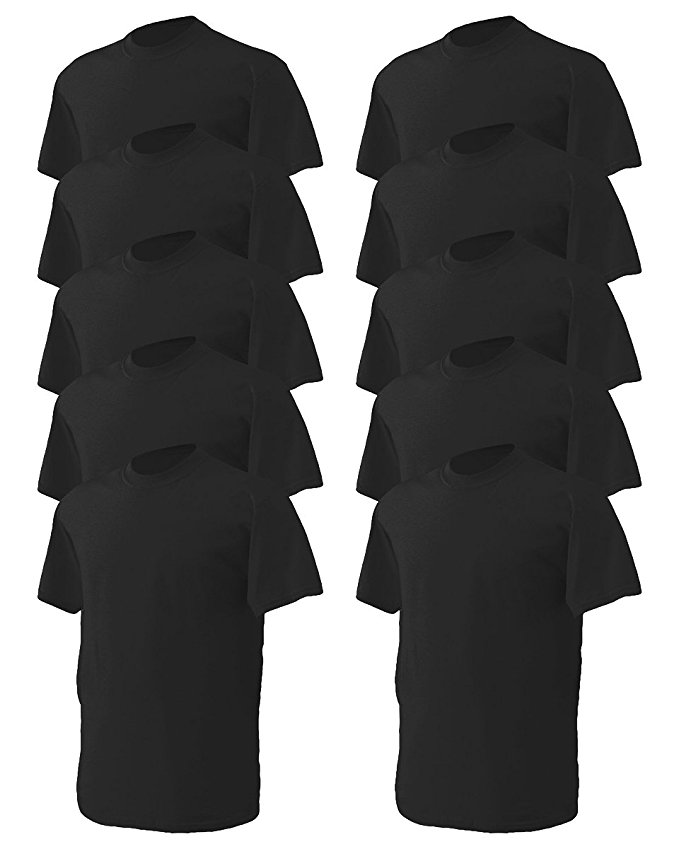Gildan Men's Heavy Taped Neck Comfort Jersey T-Shirt, Pack of 10