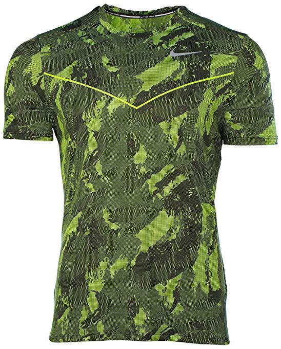 Nike Men's Dri-Fit Fractual Racing Running Shirt-Volt/Black-XL