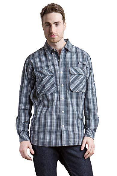 ExOfficio Men's Air Strip Macro Plaid Long Sleeve Shirt